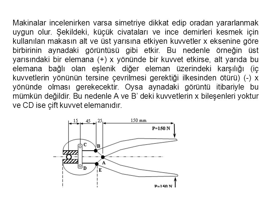 Makinalar incelenirken varsa simetriye dikkat edip oradan yararlanmak uygun olur.