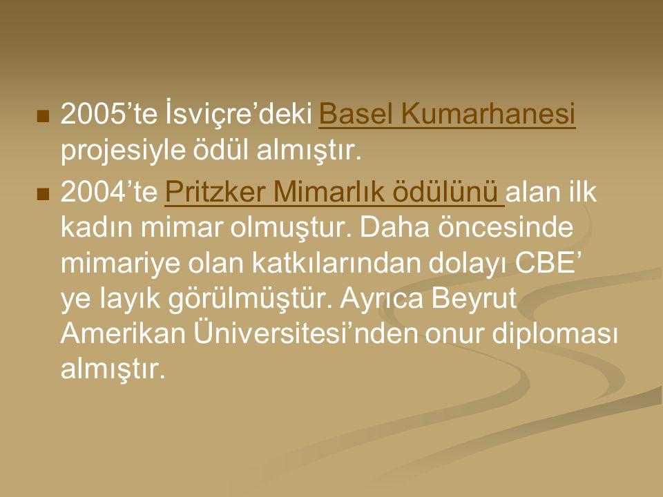 2005'te İsviçre'deki Basel Kumarhanesi projesiyle ödül almıştır.