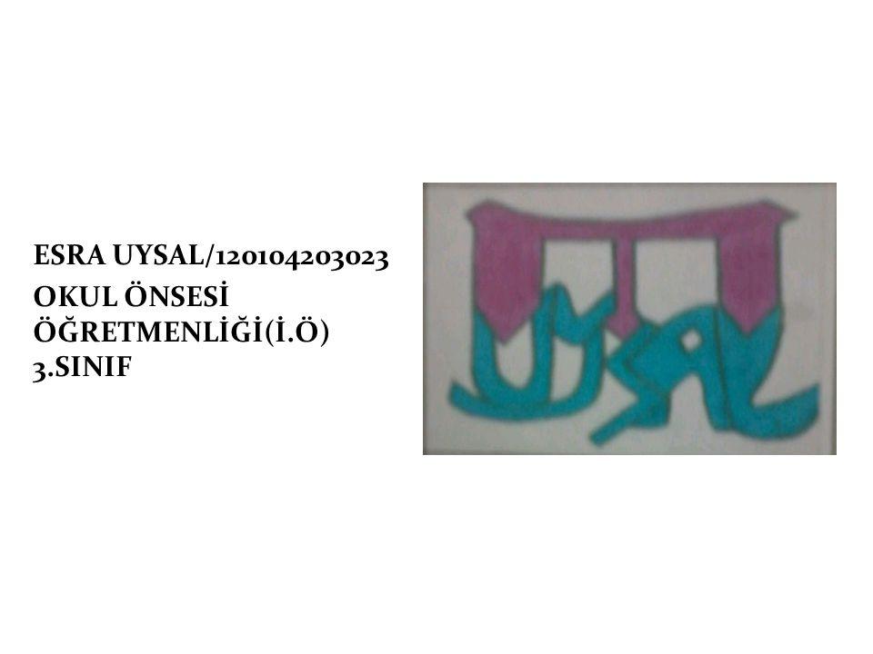 ESRA UYSAL/120104203023 OKUL ÖNSESİ ÖĞRETMENLİĞİ(İ.Ö) 3.SINIF