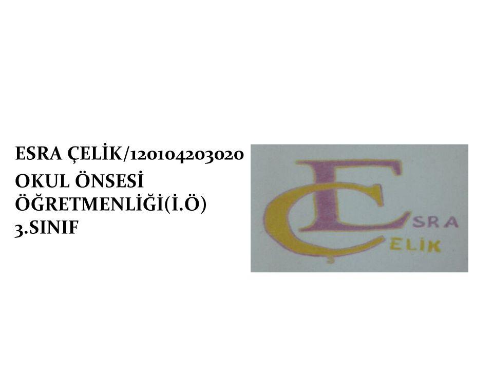 ESRA ÇELİK/120104203020 OKUL ÖNSESİ ÖĞRETMENLİĞİ(İ.Ö) 3.SINIF