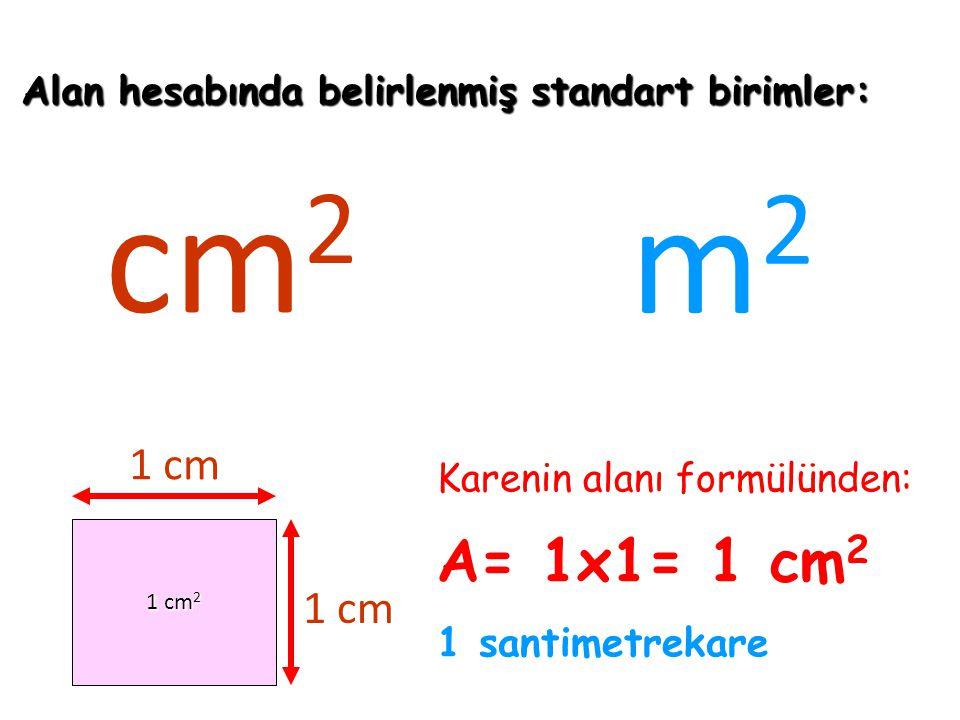 cm2 m2 A= 1x1= 1 cm2 1 cm 1 cm 1 santimetrekare