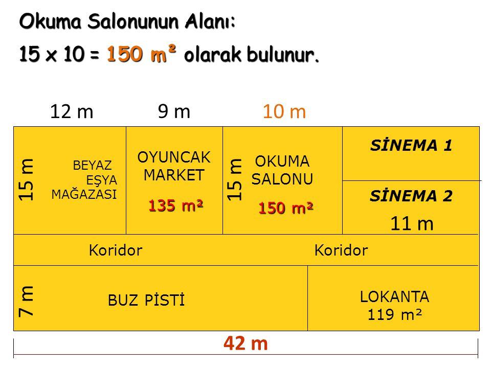 12 m 9 m 10 m 15 m 15 m 11 m 7 m 42 m Okuma Salonunun Alanı: