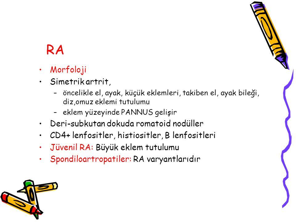 RA Morfoloji Simetrik artrit, Deri-subkutan dokuda romatoid nodüller