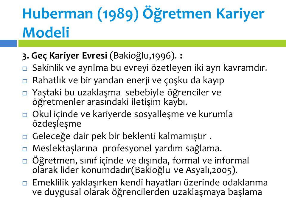 Huberman (1989) Öğretmen Kariyer Modeli