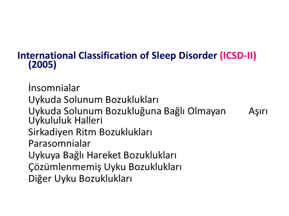 International Classification of Sleep Disorder (ICSD-II) (2005)