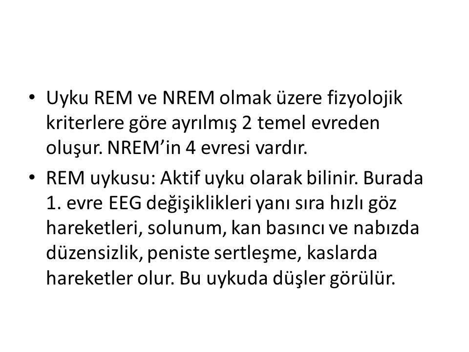 Uyku REM ve NREM olmak üzere fizyolojik kriterlere göre ayrılmış 2 temel evreden oluşur. NREM'in 4 evresi vardır.