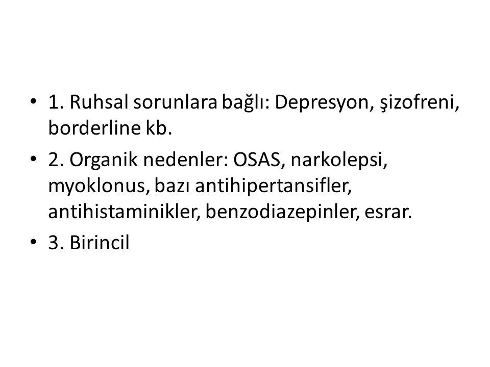 1. Ruhsal sorunlara bağlı: Depresyon, şizofreni, borderline kb.