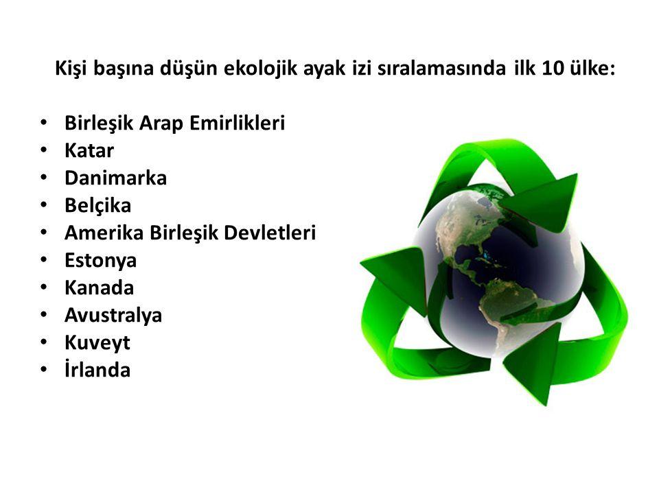 Kişi başına düşün ekolojik ayak izi sıralamasında ilk 10 ülke: