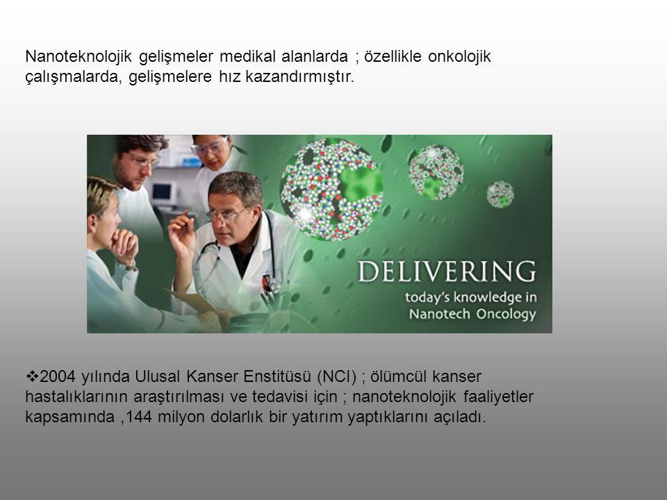 Nanoteknolojik gelişmeler medikal alanlarda ; özellikle onkolojik çalışmalarda, gelişmelere hız kazandırmıştır.