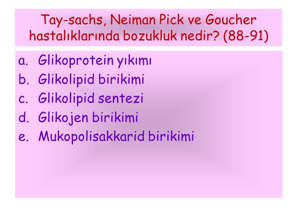 Tay-sachs, Neiman Pick ve Goucher hastalıklarında bozukluk nedir