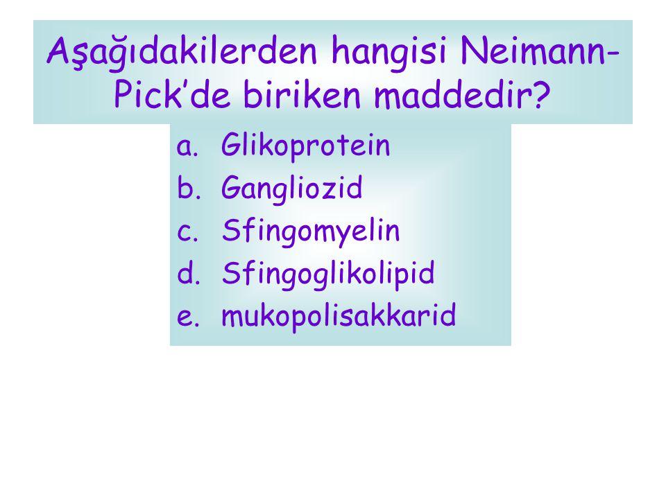 Aşağıdakilerden hangisi Neimann-Pick'de biriken maddedir