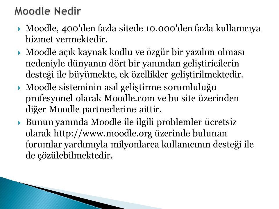 Moodle Nedir Moodle, 400 den fazla sitede 10.000 den fazla kullanıcıya hizmet vermektedir.
