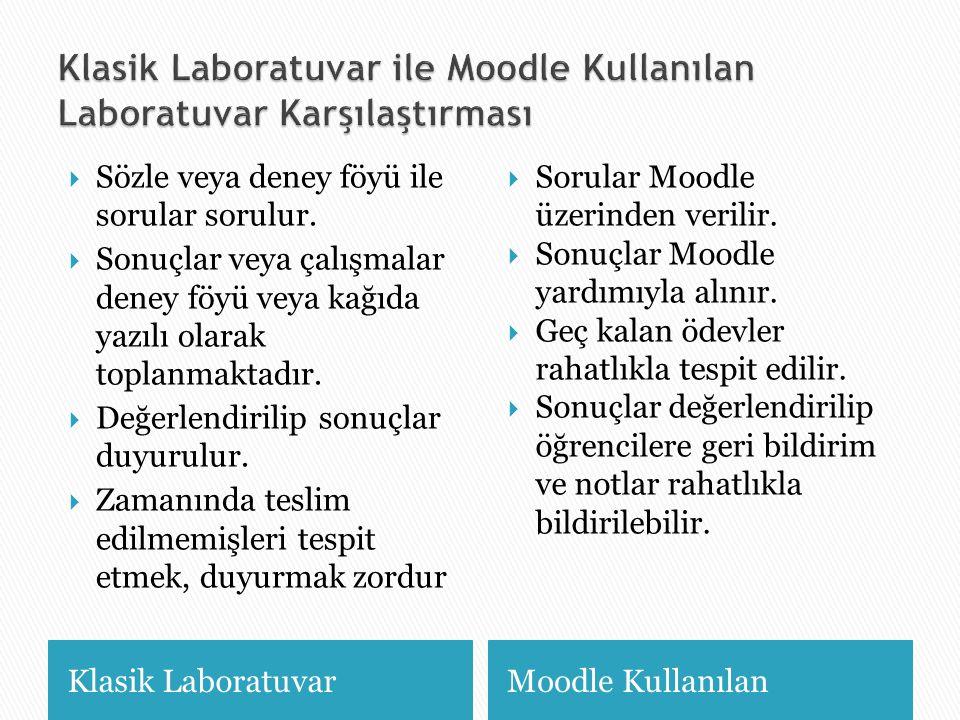 Klasik Laboratuvar ile Moodle Kullanılan Laboratuvar Karşılaştırması