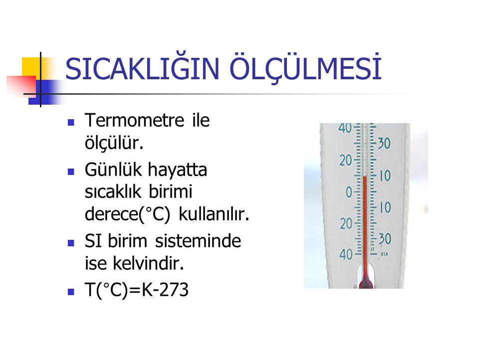 SICAKLIĞIN ÖLÇÜLMESİ Termometre ile ölçülür.