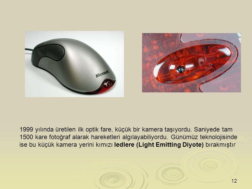 1999 yılında üretilen ilk optik fare, küçük bir kamera taşıyordu