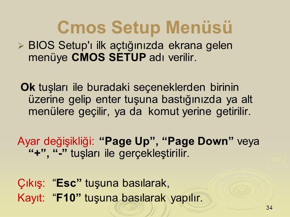 Cmos Setup Menüsü BIOS Setup ı ilk açtığınızda ekrana gelen menüye CMOS SETUP adı verilir.
