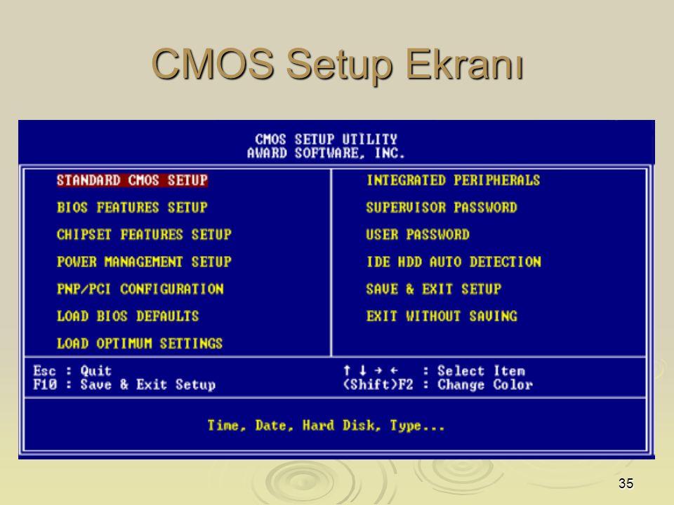 CMOS Setup Ekranı