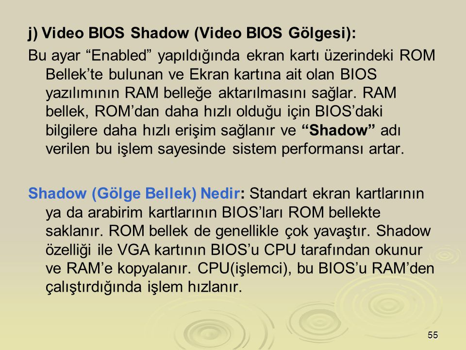 j) Video BIOS Shadow (Video BIOS Gölgesi):