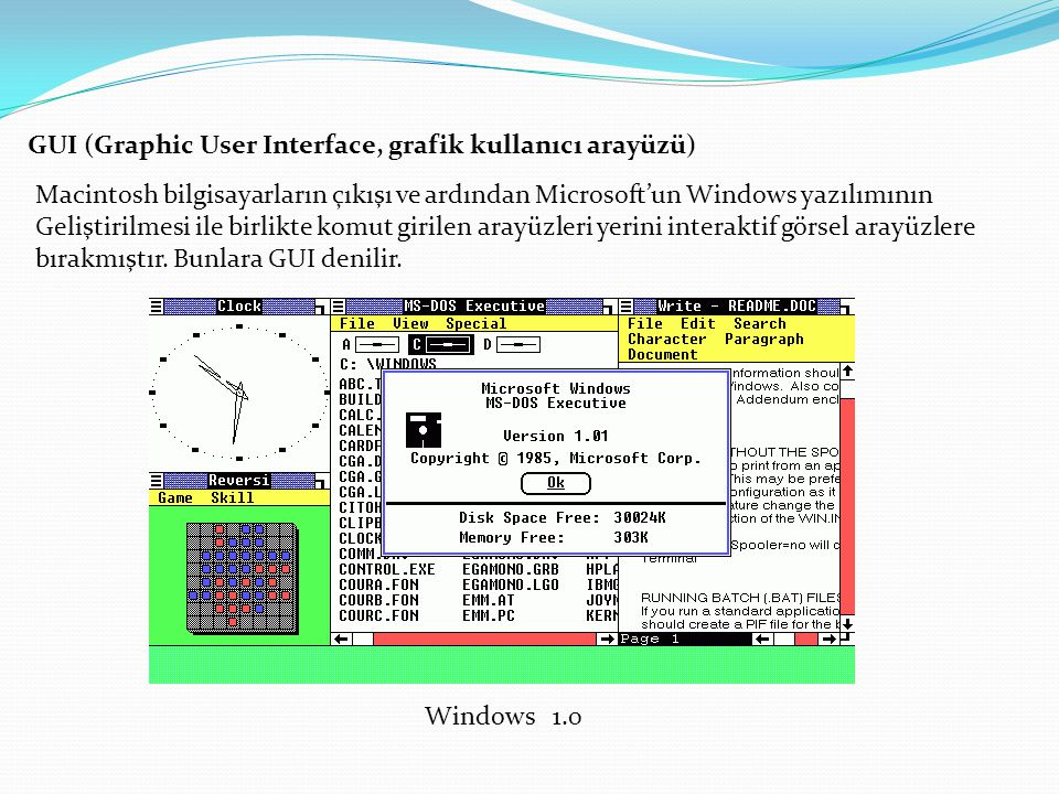 GUI (Graphic User Interface, grafik kullanıcı arayüzü)
