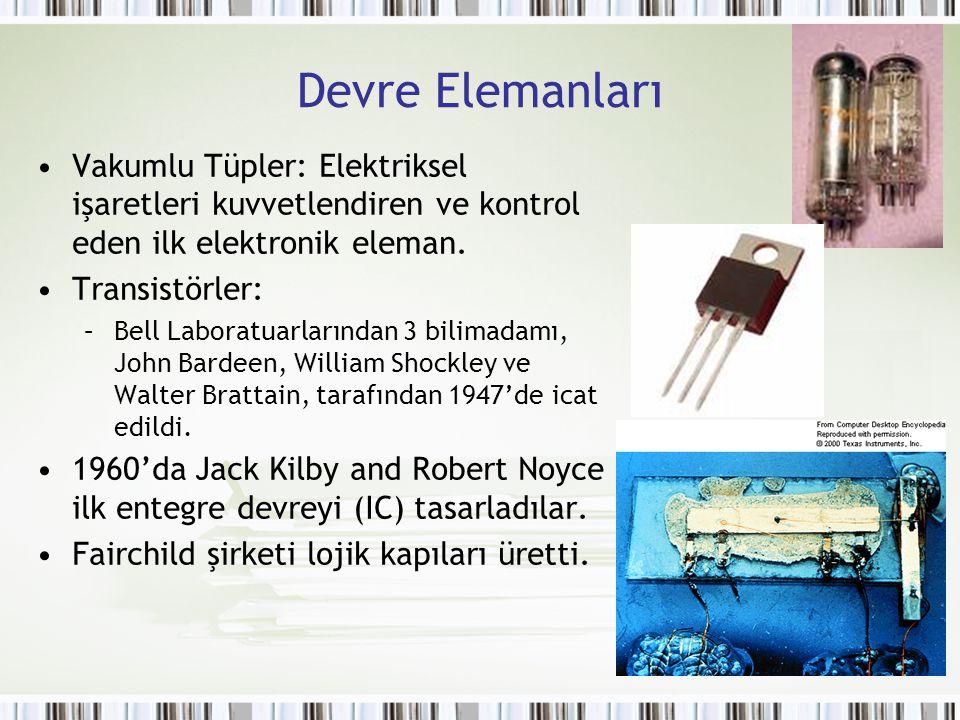 Devre Elemanları Vakumlu Tüpler: Elektriksel işaretleri kuvvetlendiren ve kontrol eden ilk elektronik eleman.