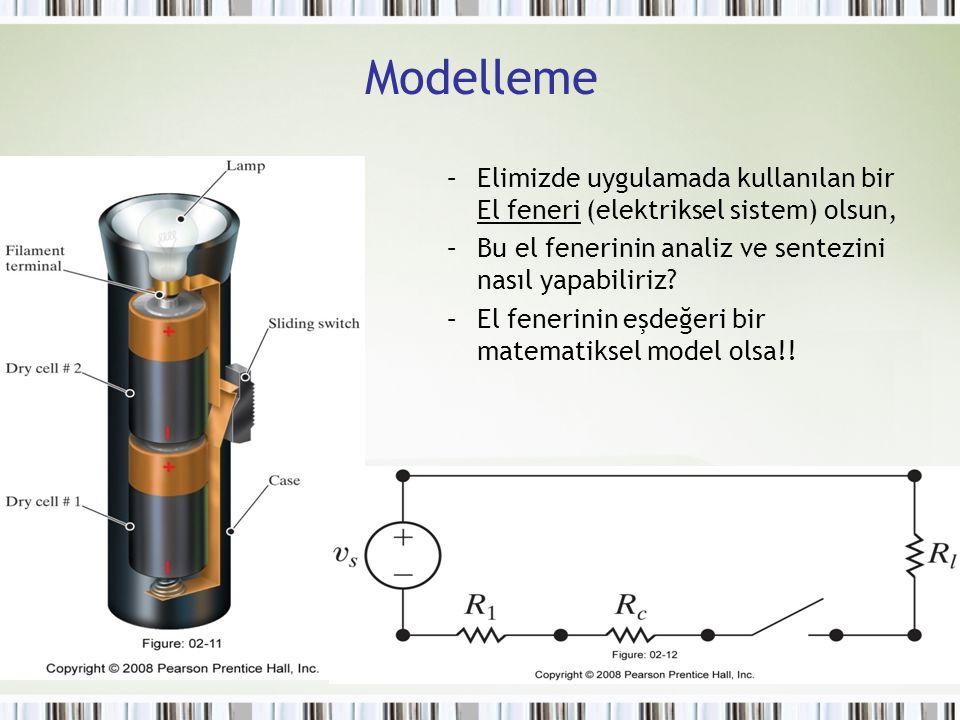 Modelleme Elimizde uygulamada kullanılan bir El feneri (elektriksel sistem) olsun, Bu el fenerinin analiz ve sentezini nasıl yapabiliriz