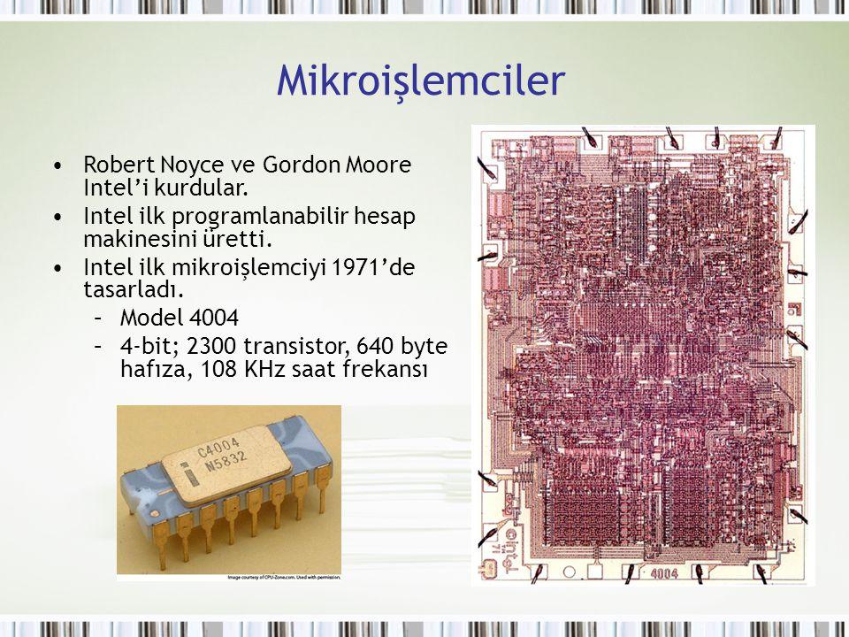Mikroişlemciler Robert Noyce ve Gordon Moore Intel'i kurdular.
