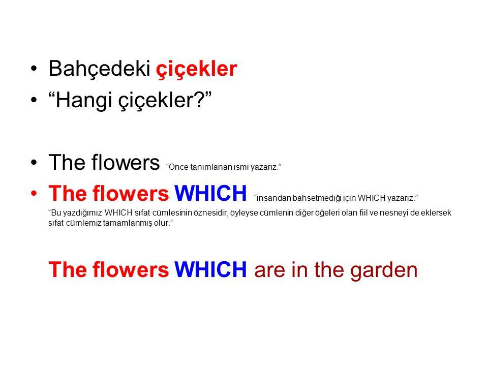 The flowers Önce tanımlanan ismi yazarız.
