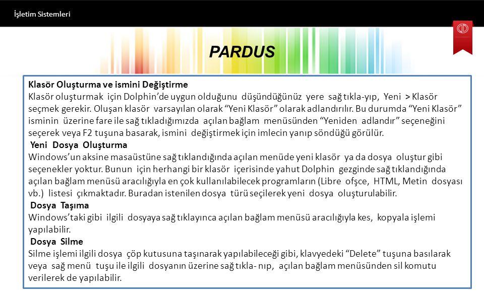 PARDUS Klasör Oluşturma ve ismini Değiştirme