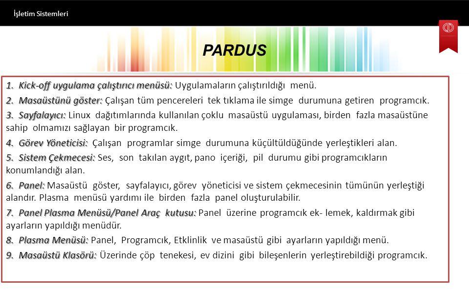 İşletim Sistemleri PARDUS.
