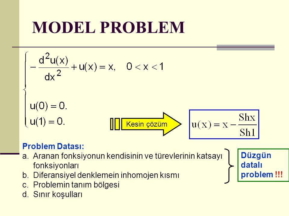 MODEL PROBLEM Problem Datası: