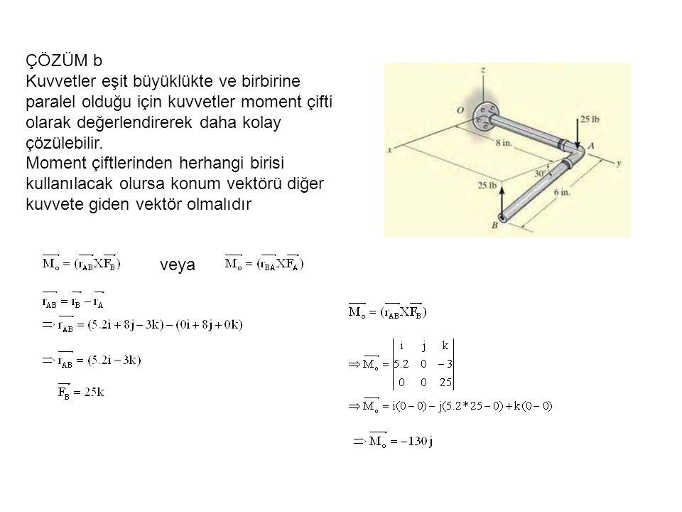 ÇÖZÜM b Kuvvetler eşit büyüklükte ve birbirine paralel olduğu için kuvvetler moment çifti olarak değerlendirerek daha kolay çözülebilir.