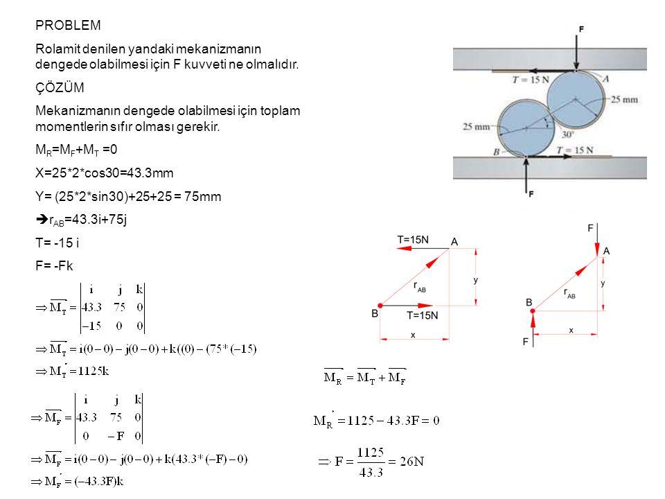 PROBLEM Rolamit denilen yandaki mekanizmanın dengede olabilmesi için F kuvveti ne olmalıdır. ÇÖZÜM.