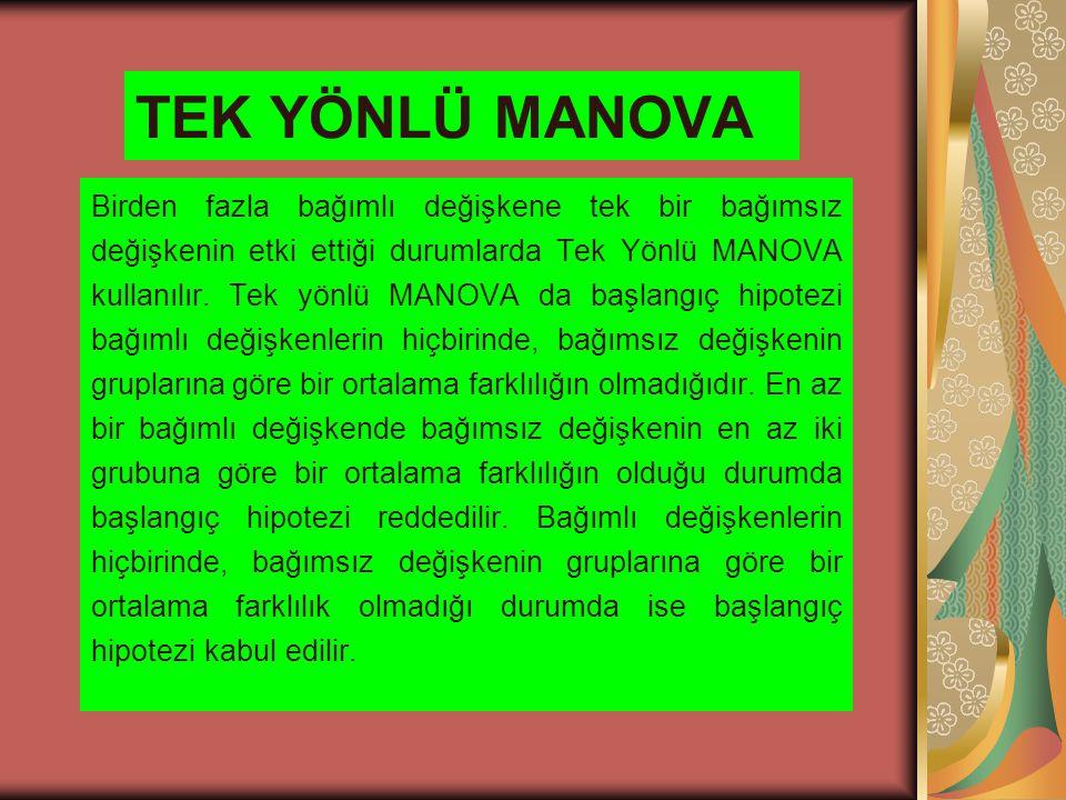 TEK YÖNLÜ MANOVA