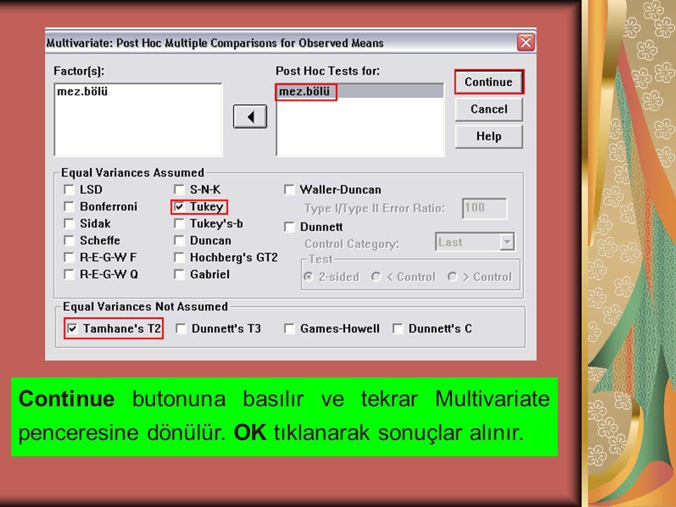 Continue butonuna basılır ve tekrar Multivariate penceresine dönülür