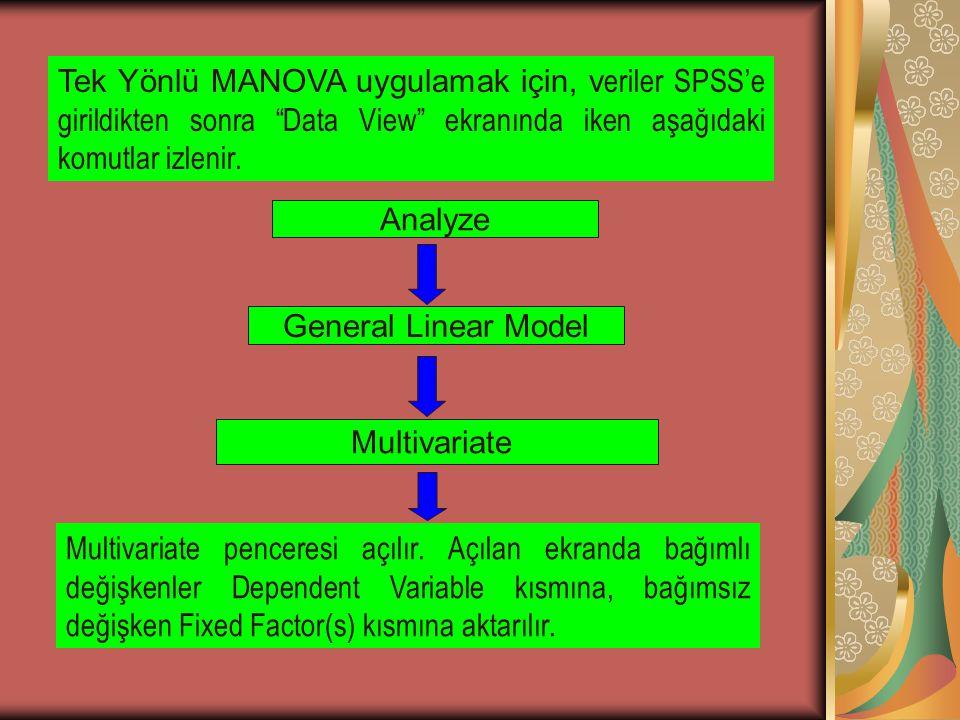 Tek Yönlü MANOVA uygulamak için, veriler SPSS'e girildikten sonra Data View ekranında iken aşağıdaki komutlar izlenir.