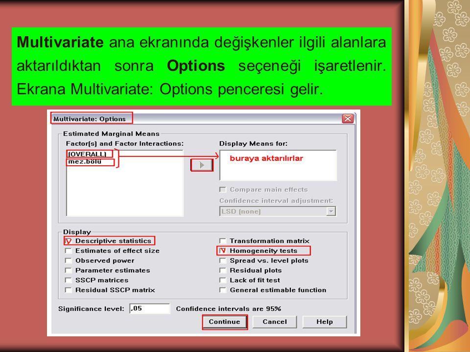 Multivariate ana ekranında değişkenler ilgili alanlara aktarıldıktan sonra Options seçeneği işaretlenir.