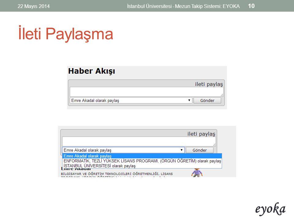 22 Mayıs 2014 İstanbul Üniversitesi - Mezun Takip Sistemi: EYOKA İleti Paylaşma
