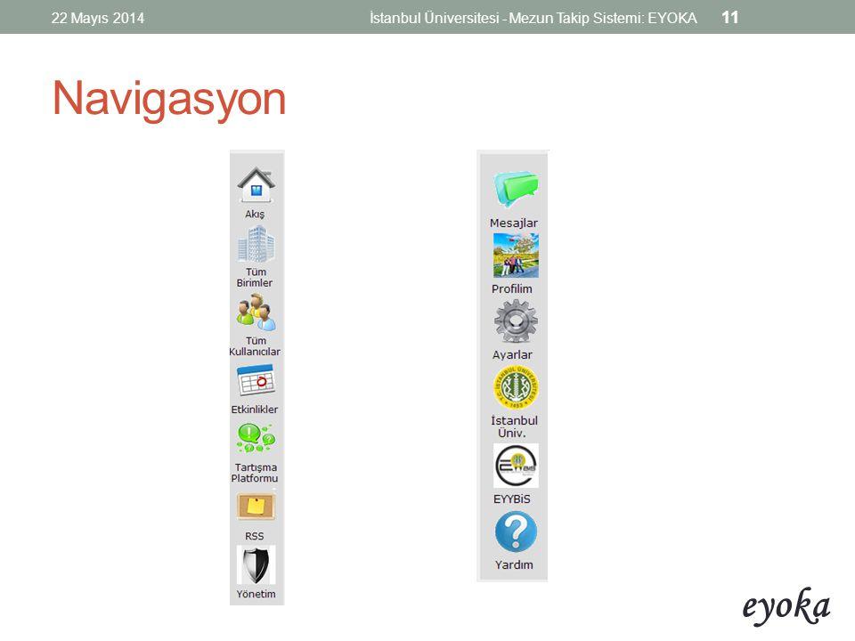 22 Mayıs 2014 İstanbul Üniversitesi - Mezun Takip Sistemi: EYOKA Navigasyon
