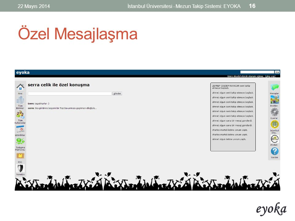 22 Mayıs 2014 İstanbul Üniversitesi - Mezun Takip Sistemi: EYOKA Özel Mesajlaşma