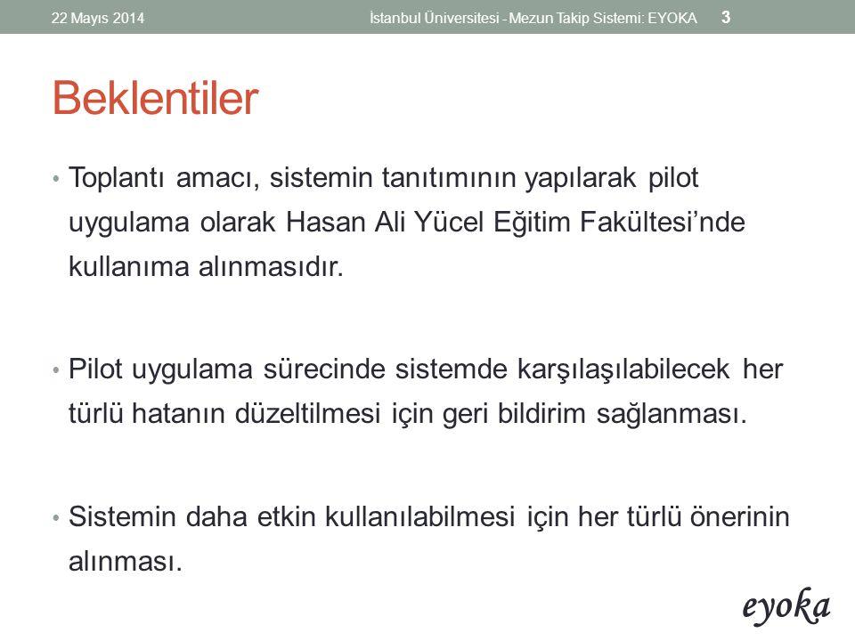 22 Mayıs 2014 İstanbul Üniversitesi - Mezun Takip Sistemi: EYOKA. Beklentiler.