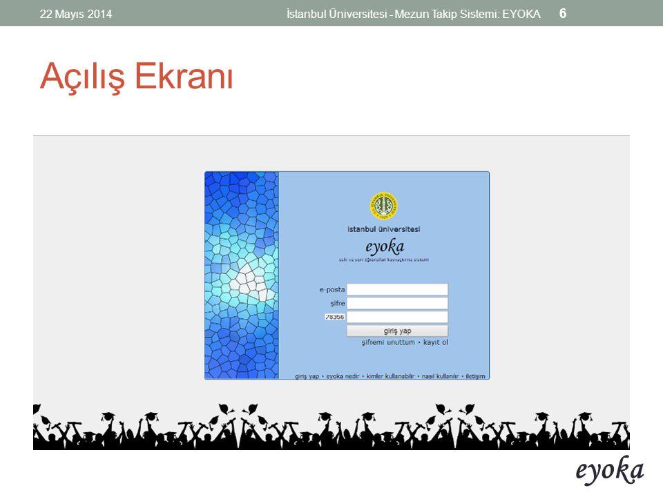 22 Mayıs 2014 İstanbul Üniversitesi - Mezun Takip Sistemi: EYOKA Açılış Ekranı