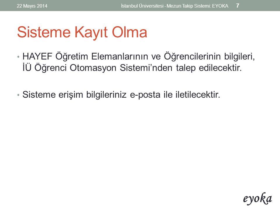 22 Mayıs 2014 İstanbul Üniversitesi - Mezun Takip Sistemi: EYOKA. Sisteme Kayıt Olma.