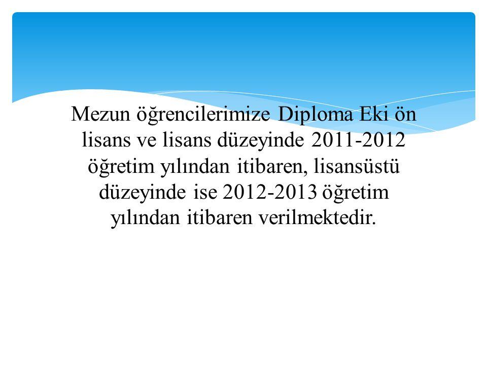 Mezun öğrencilerimize Diploma Eki ön lisans ve lisans düzeyinde 2011-2012 öğretim yılından itibaren, lisansüstü düzeyinde ise 2012-2013 öğretim yılından itibaren verilmektedir.