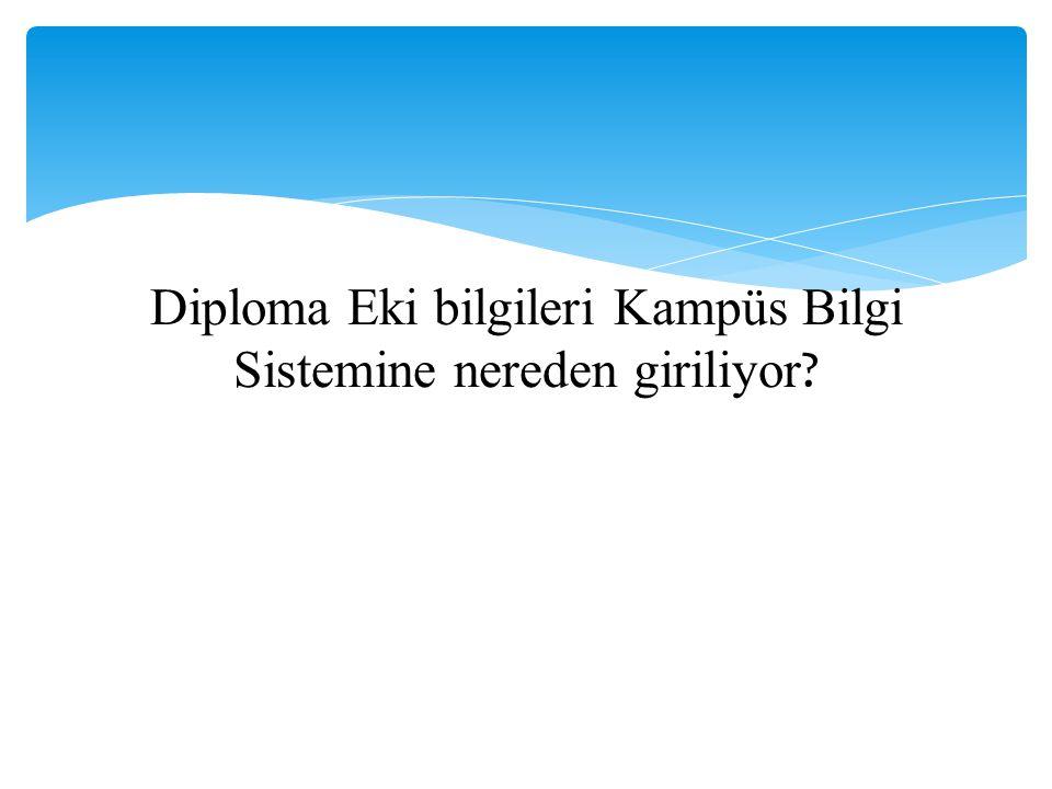 Diploma Eki bilgileri Kampüs Bilgi Sistemine nereden giriliyor