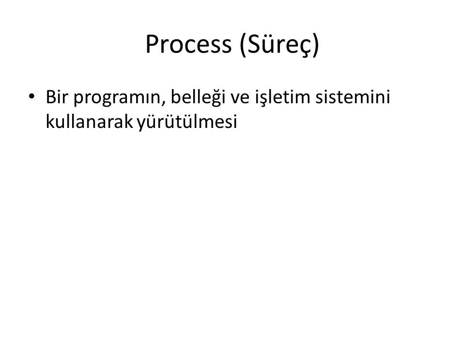 Process (Süreç) Bir programın, belleği ve işletim sistemini kullanarak yürütülmesi