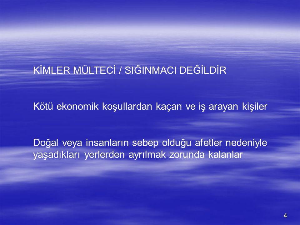 KİMLER MÜLTECİ / SIĞINMACI DEĞİLDİR