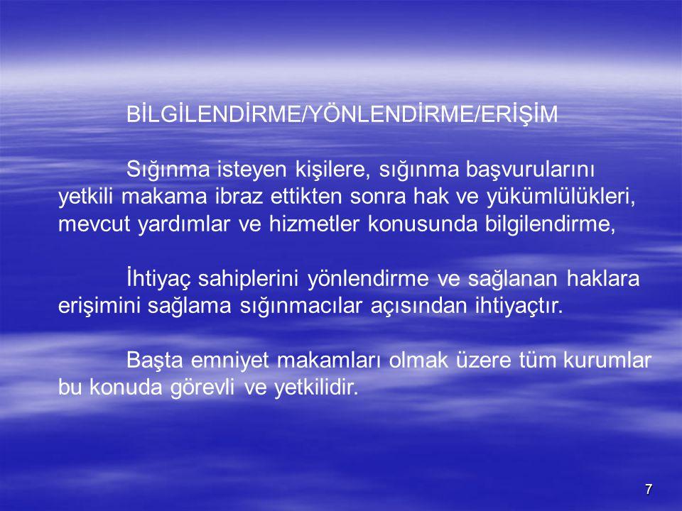 BİLGİLENDİRME/YÖNLENDİRME/ERİŞİM