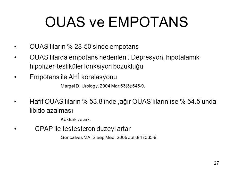 OUAS ve EMPOTANS OUAS'lıların % 28-50'sinde empotans
