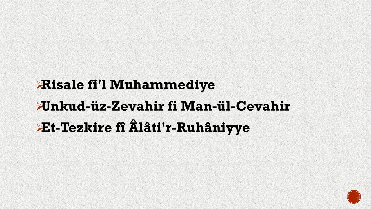 Risale fi l Muhammediye Unkud-üz-Zevahir fi Man-ül-Cevahir