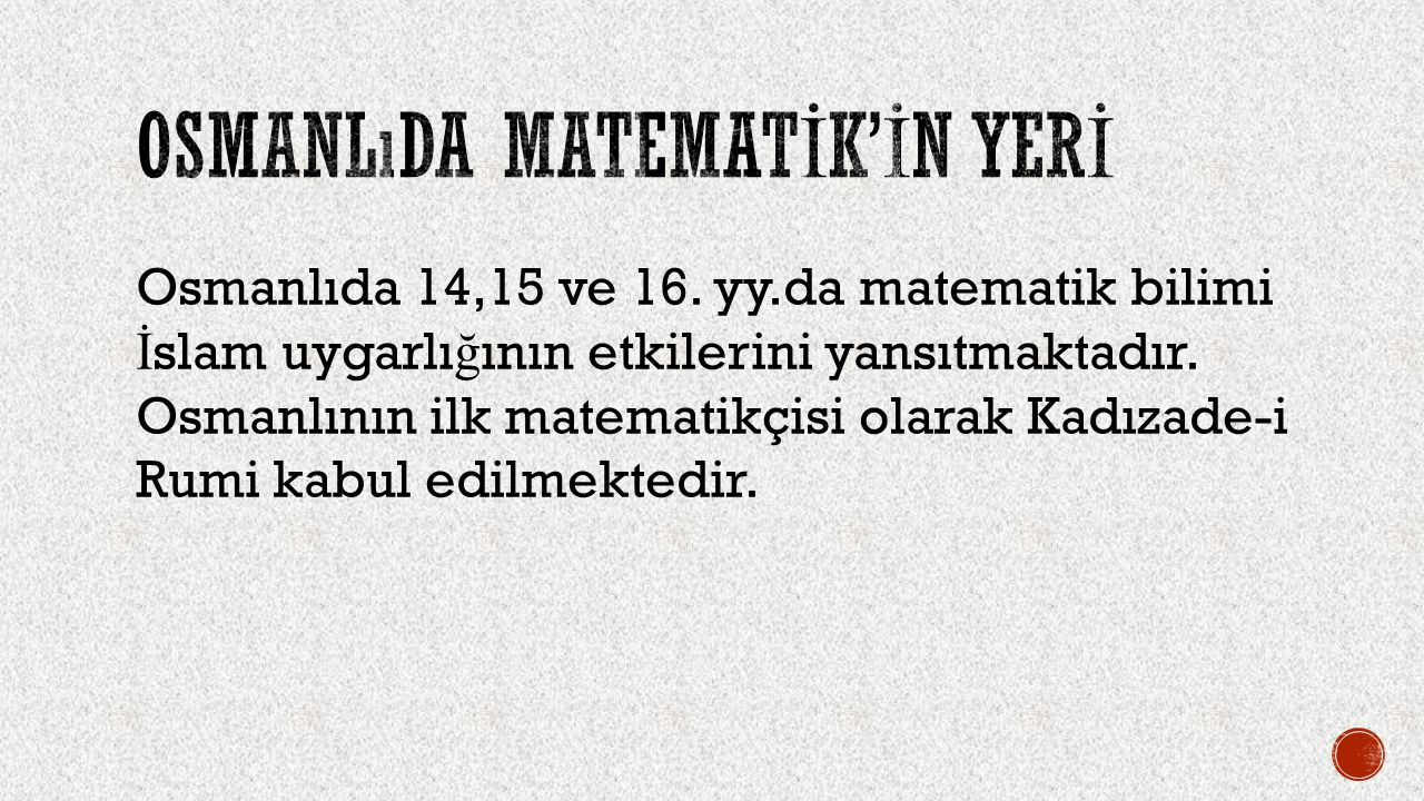 Osmanlıda matematİk'İn yerİ